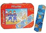 Pflasterbox - mit 20 Pflaster-  Feuerwehr & Feuerwehrmann - Motiv  - in Metall Box - Verein Kinderpflaster - für Kinder / Jungen - Trostpflaster / Rettung -..