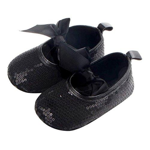 MiyaSudy Baby Mädchen Schuhe Pailletten Bowknot Rutschfest Weiche Sohle Prinzessin Babyschuhe Schwarz