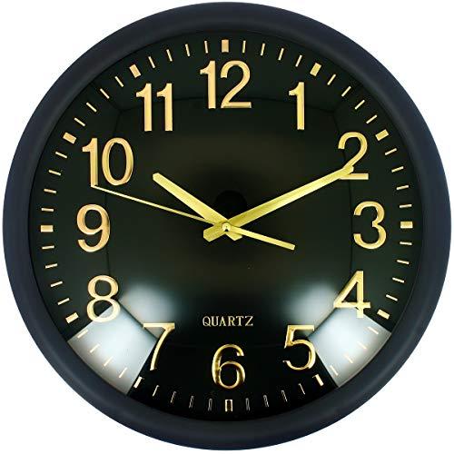 Promobo -Grande Horloge Silencieuse Design Luxe Quartz Noir