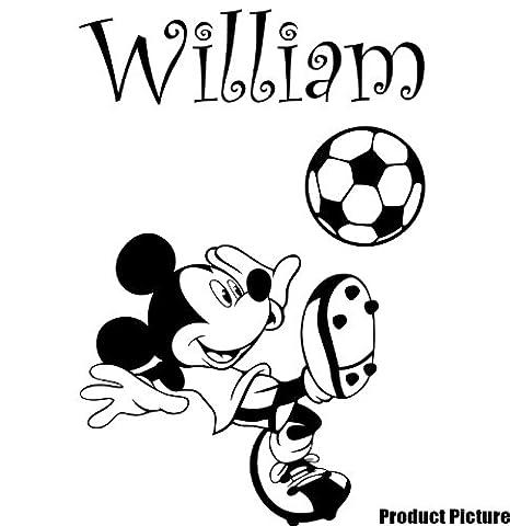 Mickey mouse mit Ihrem Wunsch-Namen - 60 cm x 40 cm, erhältlich in 18 Farben für Kinder, Disney, ball, basketball, Fußball, beliebiger Name, personalisiert, Kinder Zimmer, Aufkleber, Vinyl, Schlafzimmer, Fenster und Wand Aufkleber, Wand Windows-Art Wandaufkleber aus Vinyl, Dekoration, ThatVinylPlace Aufkleber