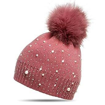 CASPAR MU143 Damen Fein Strick Winter Mütze mit Fellbommel, Farbe:altrosa;Größe:One Size