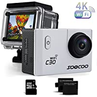 Sports Camera, SOOCOO C30 Action Camera 4K 20MP 2.0 Inch Waterproof Diving Camera with 2 Batteries and Accessories Kit Included - Silver + Wifi (Micro SD Card Included)