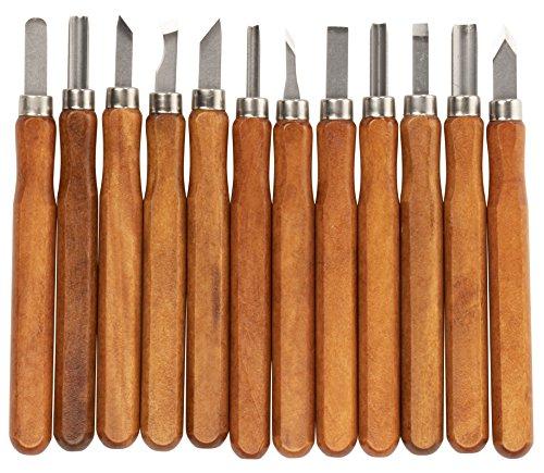 Holzschnitzwerkzeuge - 12 Stück Karbonstahl-Meißelmesser-Set für Halloween, Kürbis, Seife, Kunststoff, Skulptur, DIY Kunst und Handwerk Supplies