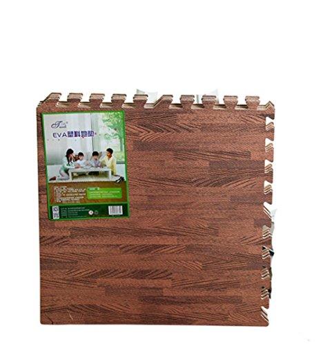 9 Stück Holz Wirkung Puzzlematten,30x30cm x 1.0 cm, Spiel-Matten für Kinder Weiche Puzzle Mats EVA-Schaum-Matten , Kinderspielteppich Wasserdicht Rutschfest Spielteppich Puzzle Kinderteppich Gymnastikmatte Trainingsmatte für Kinder und Babys Schlafzimmer Yoga Turnhalle Kinderzimmer Deko Für Innen und Draußen geeignet (braun) (Holz-boden-schaum)