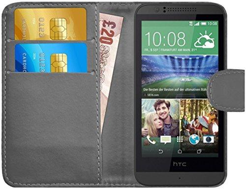 G-Shield Hülle für HTC Desire 510 Klapphülle mit Kartenfach - Grau