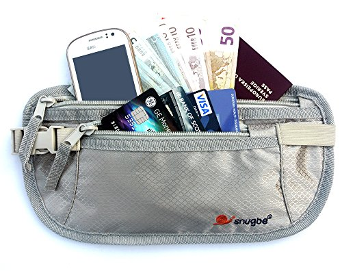 Travel Money - Cintura marsupio sottile e aderente, perfetta per nascondere carte contanti documento o iPhone, colore: argento