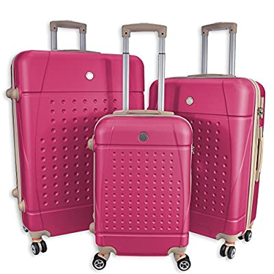 """Rocklands Lightweight 4 Wheel ABS Hard Shell Luggage Set Suitcase Cabin Travel Bag ABS18 (20"""" Small (Cabin Size), Pink) - suitcases"""