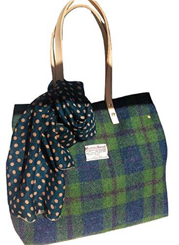 Die große Läufer-Tasche in Harris Tweed Kelpie Blue Green Plaid Design