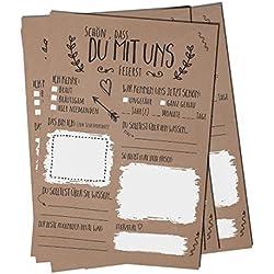 """'boda piel: 52Vintage Tarjetas postales con Preguntas en lugar de libro de visitas para boda 52semanas parte para bodas """"Schön dass du con nosotros feierst de bigdaygraphix"""