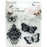 Dovecraft – Flores Muse sello de mariposa, Transparente, Silicona, Multicolor