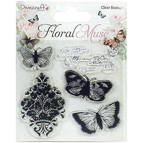 Dovecraft–Flores Muse sello de mariposa, Transparente, Silicona, Multicolor