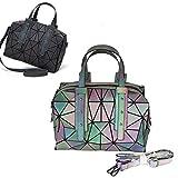 LIUNIAN Frauen Leuchtende Handtasche Boston Bag Nightglowing Geometrische Dreieck Lingge Faltbare...