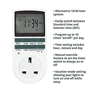Electronic-Digital-Timer-7-Day-Socket-UK-Plug-in-Programmable-WHITE2-Pack