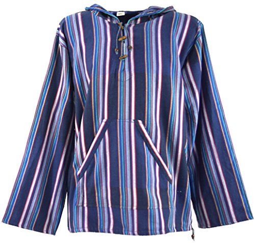 Guru-Shop Goa Kapuzenshirt, Gestreifter Baja Hoody, Herren, Indigo, Baumwolle, Size:S, Sweatshirts & Hoodies Alternative Bekleidung - Baja Pullover Hoodies