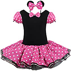 IEFIEL Vestido de Fiesta Princesa Disfraces Tutú Ballet Lunares para Bébes Niñas con Braga Interior con Diadema Rosa 7-8 años