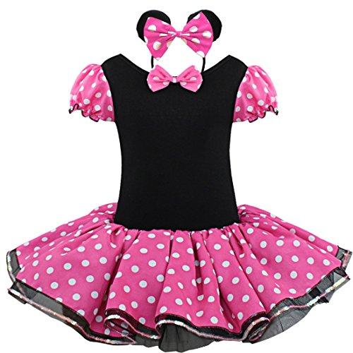 YOOJIA Vestido de Fiesta Lunares Disfraz de Ratoncita Bebé Niñas Traje con Diadema Boda Cumpleaños (1-8 Años) Rosa 4-5años
