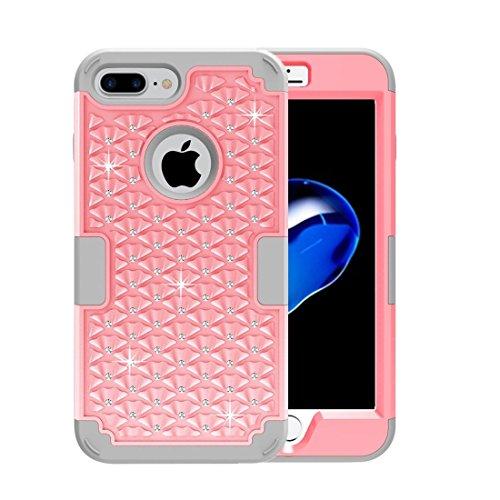 iPhone Case Cover Pour iPhone 7 Plus 3 en 1 PC Encrusted Diamant + Combinaison Silicone ( SKU : Ip7p3100gh ) Ip7p3100hf