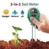 Vistefly Bodentester, PH Feuchtemessgerät, Hygrometer, Licht- und pH-Säuretester, 3 in 1 Bodenfeuchtesensor für Pflanzenerde, Garten, Bauernhof, Rasen (kein Batterien erforderlich)