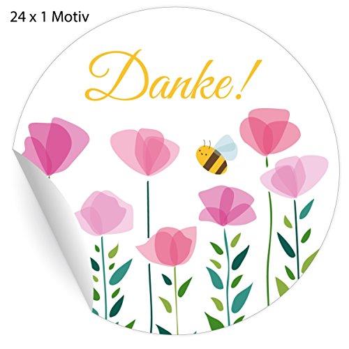 24 nette Dankes Aufkleber mit Blumen und kleiner Biene: Danke, MATTE universal Papieraufkleber für Geschenke, Etiketten für Tischdeko, Pakete, Briefe und mehr (ø 45mm