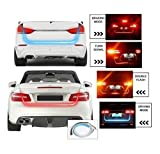 #4: UNIQSTUFF WATERPROOF ICE BLUE & Red FLOW LED STRIP TRUNK / DICKY / BOOT / Tail Lights Streamer Brake Turn Signal LIGHT ( Free 1 Pair 9 Smd Parking Led White ) For Tata Tiago
