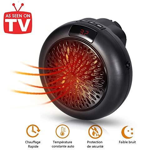 Mini Heater Stufa Elettrica Ceramica Riscaldatore 1000W Portatile Termoventilatore a Presa a Muro con Display Digitale Temporizzato Regolabile per Bagno e Casa (Nero-VC)