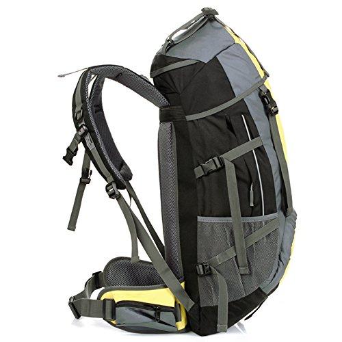 55L Trekkingrucksack Wasserdicht Wanderrucksack Taktische Rucksack Trekkingrucksäcke Outdoor Rucksack Reiserucksack Sportrucksack für Reisen Wandern und Bergsteigen Yellow