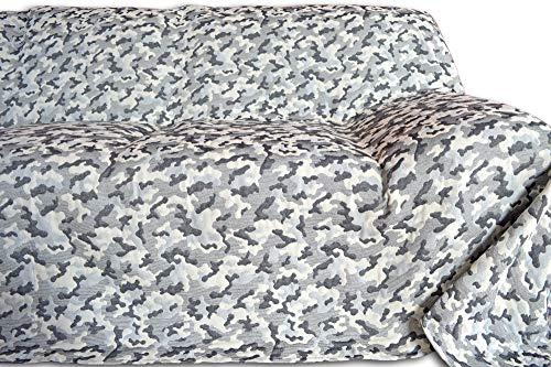 Telo ARREDO COPRITUTTO Copriletto in 5 misure Prodotto in Italia Gran Foulard Multiuso Tuttofare COPRIDIVANO Copriletto Mimetico Militare Moderno Ragazzi Bianco Grigio - Nero - 400x280 cm