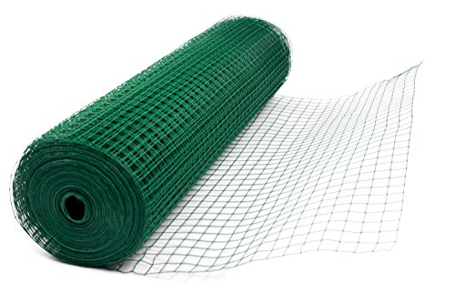 "G4RCE® 1"" x 1"" Green PVC Coated Welded Mesh Wire 30m or 45m roll in 2 widths Chicken Rabbit Animal Fence Steel Metal Garden Netting Fencing (1.2M X 30M) 3"