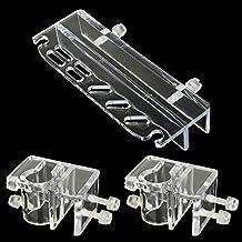 SENZEAL acrílico pinzas de acuario Scissor con 2x Pipe Holder Acrylic Fixture Clamp para afluente de salida Lily Pipe