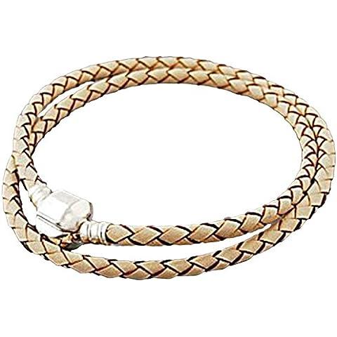 Para pulsera Buddy 37 cm/18 cm doble de cuero en color crema compatible con tipo Pandora Pulsera plateado joyas colgantes para mujer