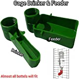 Praish Bird Cage Drinker Feeder Use Any Bottle to Fix in It