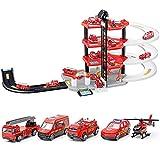 WDXIN Auto Giocattolo Garage Traccia Il Giocattolo del parcheggio Quattro Piani Camion dei Pompieri Fai da Te Vagone della Lega 5 Auto + Aerei.