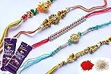 Set Of any 4 Rakhi Raksha Bandhan Gift Band Moli Bracelet WRISTBANDS Roli Chawal Tilak with 2 Dairy Milk 34 Gram