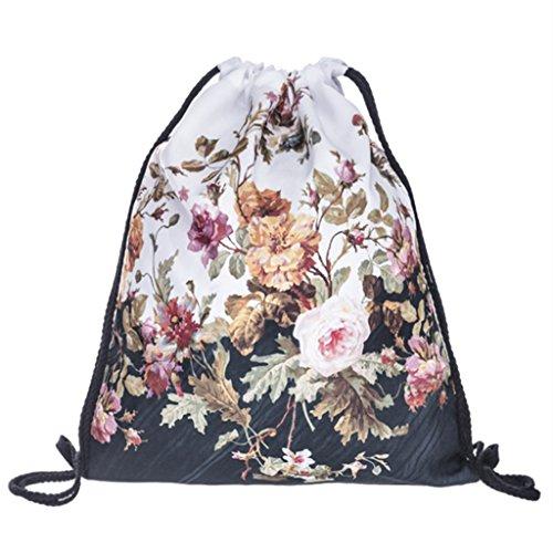 DYZ Unisex Floral Muster Fashion Tasche Tüte Rucksack Jutebeutel Hipster, FLOWER BLACK WHITE