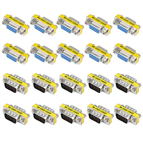 Coolty 20 Pack HD15 VGA SVGA Gender Changer,Buchse auf Buchse &Stecker zu Stecker Seriell Kabel Koppler Adapter -