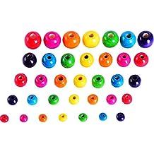 Sumind 500 Piezas Abalorios de Madera Coloridos Perlas de Madera Redondas para Manualidades, 5 Tamaños