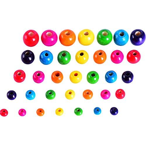 Sumind 500 Stück Bunte Holzperlen Rund Holz Perlen für Kunsthandwerk DIY, 5 Größen