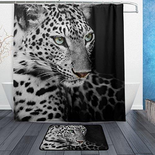 ALAZA Leopard-Wilde Tier-Duschvorhang 66 x 72 Zoll mit Badematte Teppich & Haken, schimmelresistent und Wasserdicht Polyester Dekoration Badezimmer-Vorhang Set