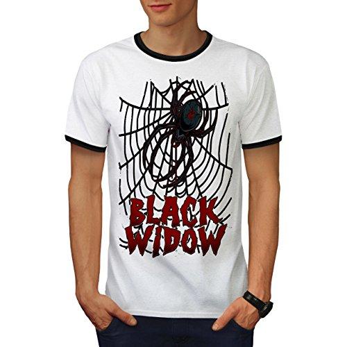 Angst Das Netz Herren M Ringer T-shirt | Wellcoda (Schwarze Witwe-puppe)