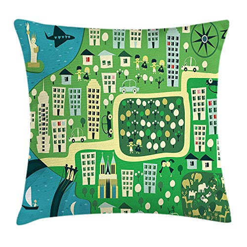 Trsdshorts New York Throw Pillow Cushion Cover, Cartoon Illustration of NYC with Absurd Hand Drawn Urban Icons and Central Park, Decorative Square Accent Pillow Case, 18 X 18 inches, Multicolor -
