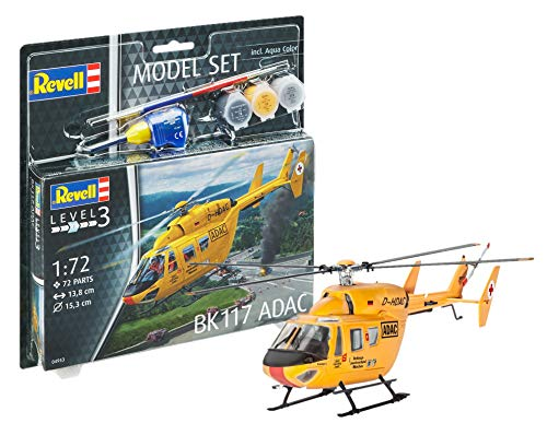 Revell 64953 - Modellbausatz Hubschrauber 64953 Set 1:72 - Bk-117 ADAC im Maßstab 1:72, Level 3, Orginalgetreue Nachbildung mit vielen Details, Helikopter -
