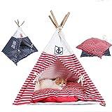 shanzhizui Tente rayée pour animaux de compagnie Chenil Maison de chien en bois Petite maison de chien Été Nid de chat Lit d'animal Amovible et lavable, blue