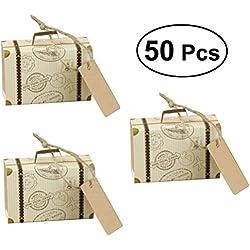 LUOEM Mini valise Kraft bonbons boîtes Vintage papier kraft avec des étiquettes et des ficelles de toile de jute pour le mariage de noël