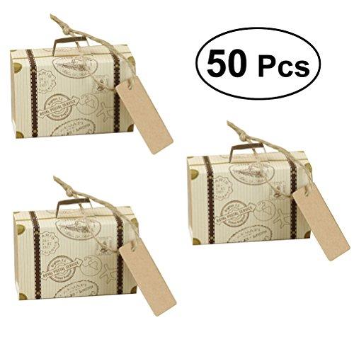 LUOEM Mini Koffer Kraft Süßigkeit Boxen Vintage Kraftpapier mit Tags und Sackleinen Bindfäden für Hochzeit Weihnachten Geburtstag Event Party Favors
