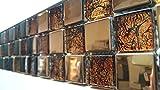 Bordüren 7,2x30cm, Glasmosaik/Metalloptik mit Edelstahl braun kupfer, Mosako