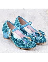Wuyulunbi@ Las Niñas Confort Apartamentos Flor Chica Zapatos Verano Otoño Polipiel Vestimenta Informal Sequin Hebilla Talón Plano Azul Plata Oro Rubor Rosa,Azul,Us9.5 P / Ue26 / Uk8.5 Toddle