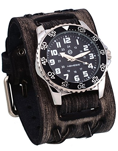 Nemesis #DXBB227K Men's Super Night Glow Wide Leather Double X Cuff Black Dial Watch
