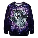 Fuegos Artificiales Morado Precioso Gato Mágico Sudadera Con Capucha Niñas Noche Estrella Brillante Jersey