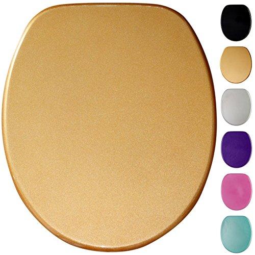 Glitzer WC Sitz, viele schöne glitzer WC Sitze zur Auswahl, hochwertige und stabile Qualität aus Holz (Gold)