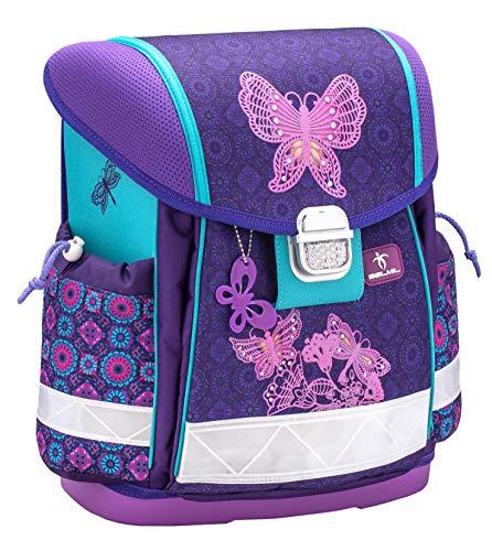 Belmil Ergonomischer Schulranzen Mädchen 1. klasse 2. klasse 3. klasse - Super Leichte 900-960 g/Grundschule/Schmetterling Butterfly/Lila (403-13 Colorful)